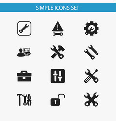 set of 12 editable service icons includes symbols vector image