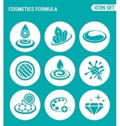 set of round icons white Cosmetics formula vector image
