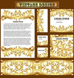 Set of templates for design with vintage gold orna vector
