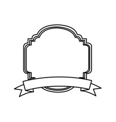 silhouette decorative heraldic frame design vector image