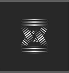 Silver chain logo with triangular links creative vector