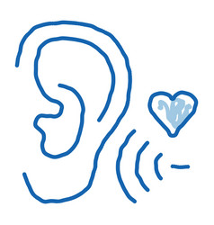 Sound for ear doodle icon hand drawn vector