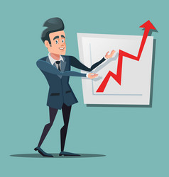 successful businessman pointing on growth chart vector image
