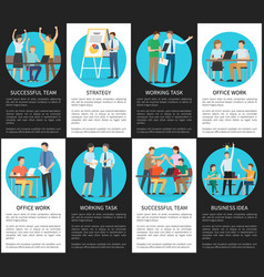 Successful teams work on business ideas posters vector
