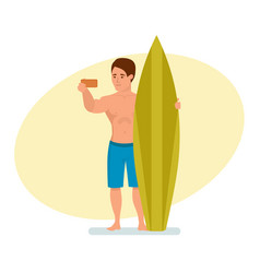surfer with board makes selfie against background vector image
