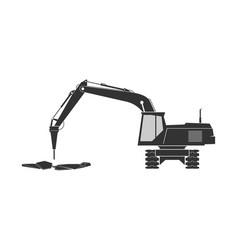 Tracked excavator icon vector
