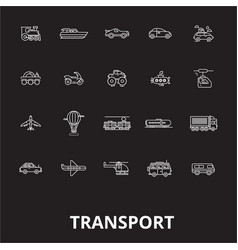 transport editable line icons set on black vector image