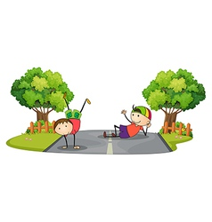 Two kids playing in the middle of the road vector