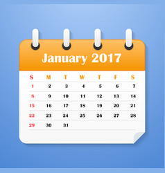 Usa calendar for january 2017 vector