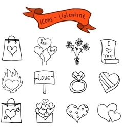 Valentine day icons collection vector