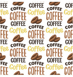 Vintage coffee shop labels seamless pattern vector
