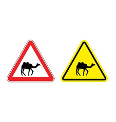 Warning sign attention camel Hazard yellow sign vector image