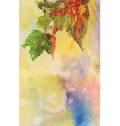 Watercolor background with autumn leaves vector image