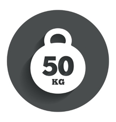 Weight sign icon 50 kilogram kg sport symbol vector