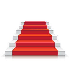 White stairway with red carpet 3d staircase vector