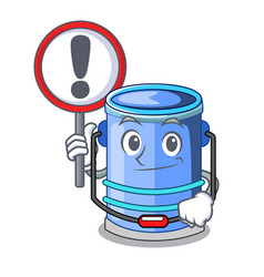 with sign cylinder bucket cartoon of for liquid vector image