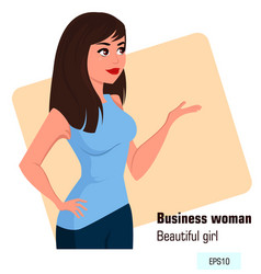 young cartoon business woman in office style vector image