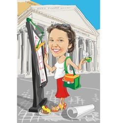Cartoon girl architect in italy vector