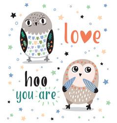 cute romantic card with cartoon owls love hoo you vector image