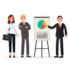 group of business people with diagram on poster vector image