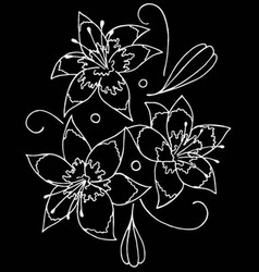 lilies drawing by hand- vector image vector image