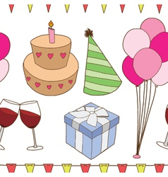Seamless of birthday party elements vector image vector image