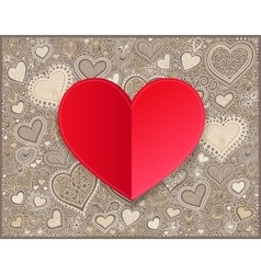 Valentines day red paper hand drawing on heart vector image