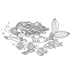 beautiful little mermaid girl swim with fish vector image vector image