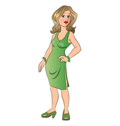 beautiful woman with her hand on hip vector image vector image
