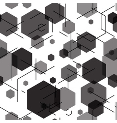 Hexagon seamless tech pattern vector image vector image