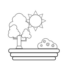 Line beauty tree with sun and bush with flowers vector