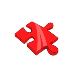 Piece of puzzle icon cartoon style vector image