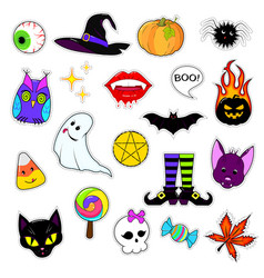 set of patches for halloween vector image