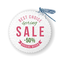 spring sale round paper emblem with dragonfly vector image