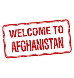 welcome to Afghanistan red grunge square stamp vector image vector image