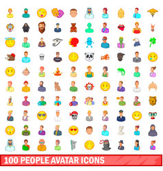 100 people avatar icons set cartoon style vector image vector image