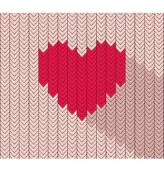 Flat heart icon in herringbone pattern vector image