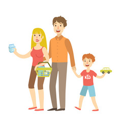 mom dad and son holding toy car shopping vector image vector image