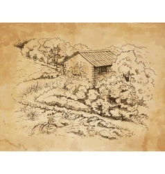 Rural landscape with old farmhouse vector image