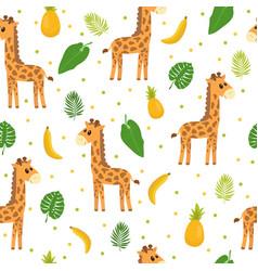 seamless pattern with cute cartoon little giraffe vector image