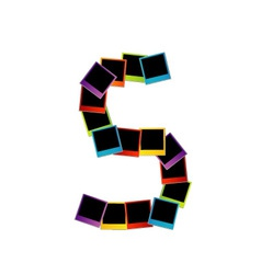 Alphabet S with colorful polaroids vector image vector image