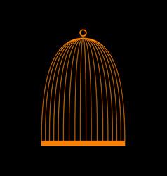 bird cage sign orange icon on black background vector image