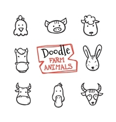 doodle style farm animals icons set Cute vector image