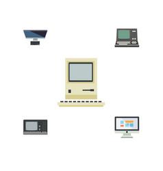 Flat icon laptop set of vintage hardware display vector