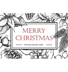 Merry Christmas hand drawn vintage vector image vector image