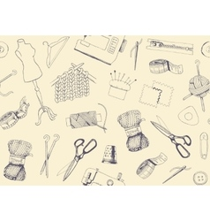 Pattern with sketches of sewing and knitting vector image vector image