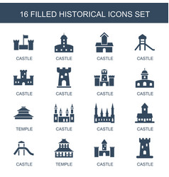 16 historical icons vector