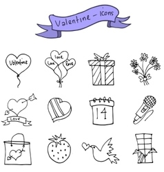 Art of valentine day icons vector