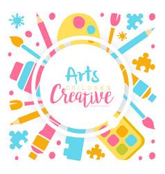 arts creative banner template kids education art vector image