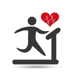 Athlete silhouette heart beat walking machine vector